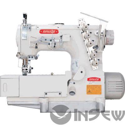 Bruce BRC 562ADII-05 плоскошовная машина с механическим дозирующим устройством и боковой подрезкой материала для вшивания эластичной тесьмы